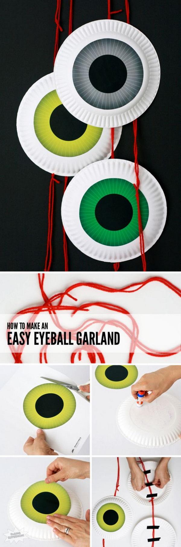 Cute DIY Halloween Eyeball Door Garland .