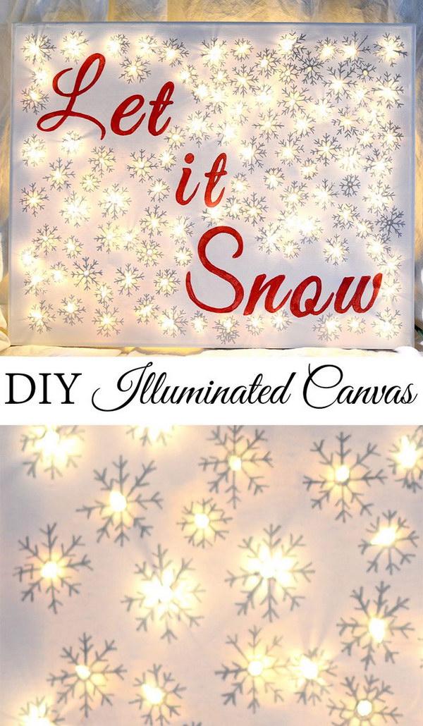 DIY Lighted Christmas Canvas