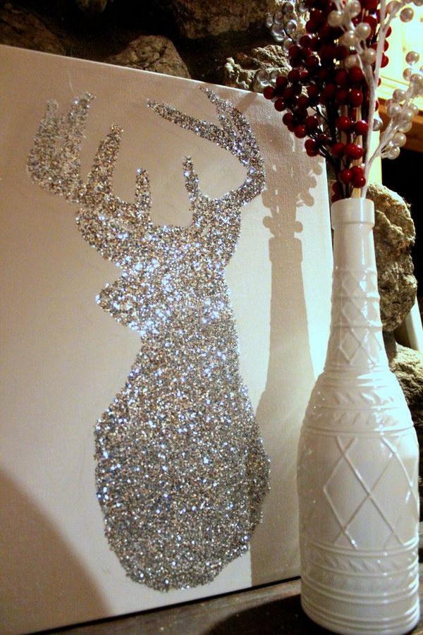 DIY Glittery Reindeer Art