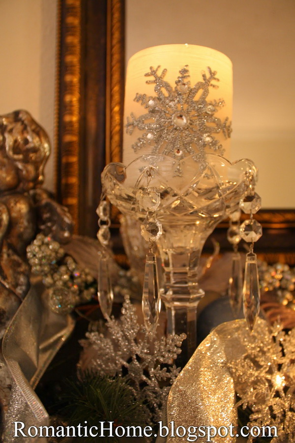 Elegant Cut Glass Candlesticks and Embellished Candles for Christmas Mantel