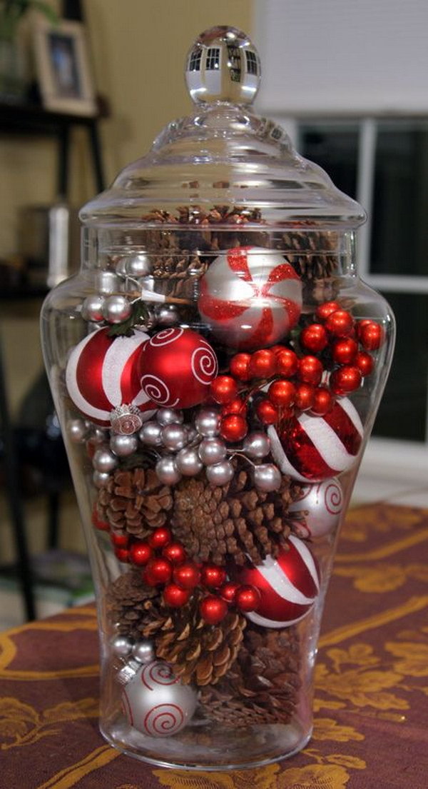 Pine Cones and Ornaments in a Glass Jar