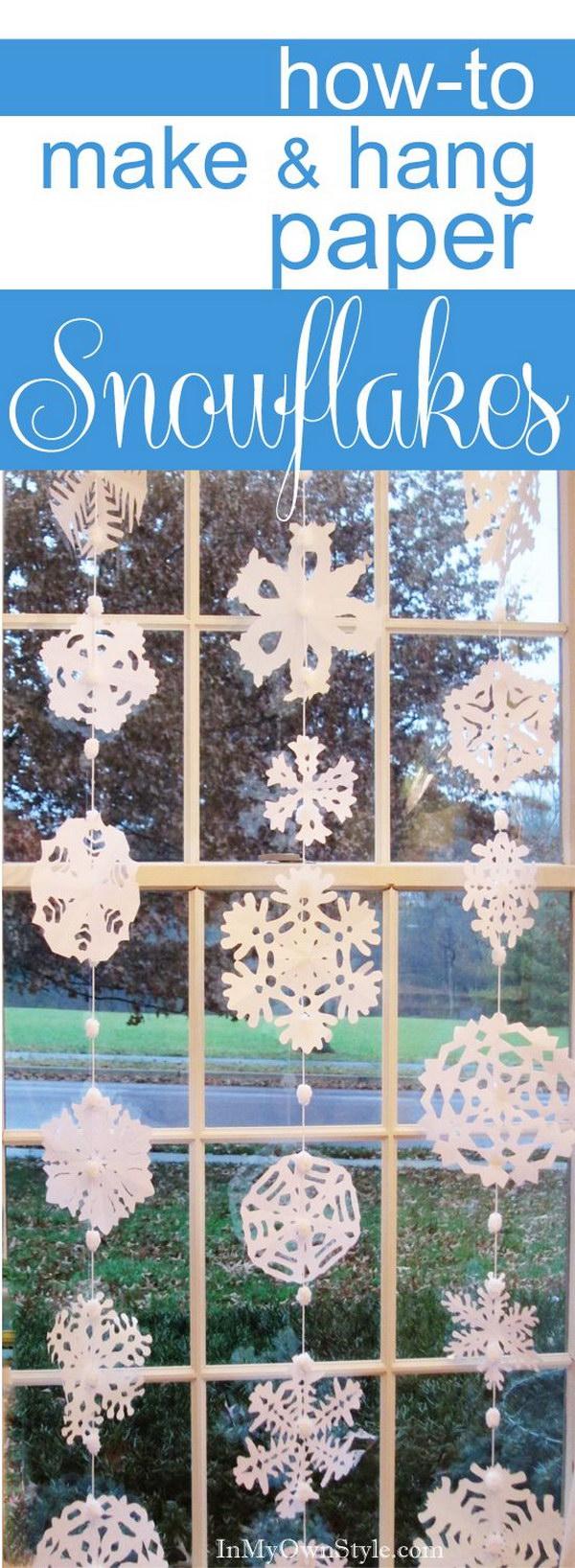 DIY No Sew Hanging Paper Snowflake Window Treatment