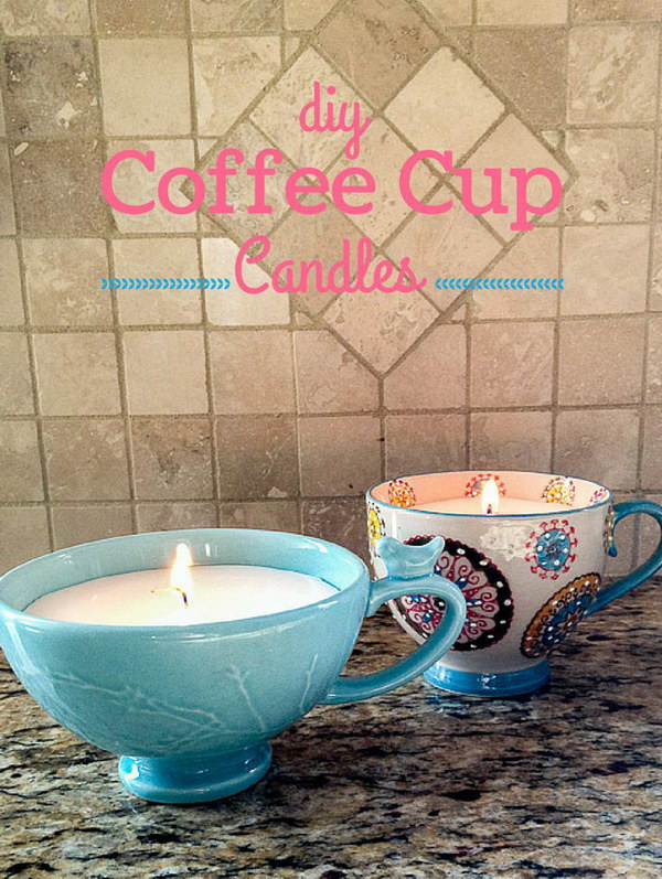 DIY Coffee Cup Candles. This is a cute and easy gift for people who are lovers of coffee and collectors of coffee mugs!