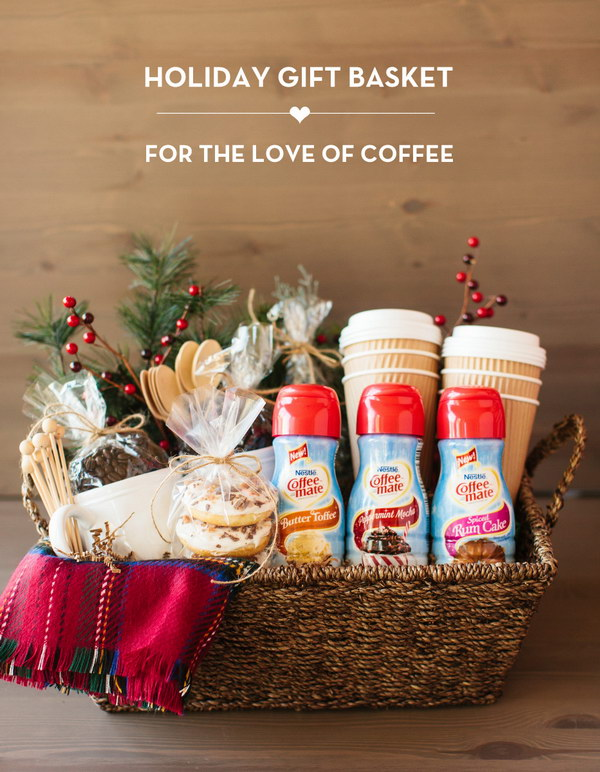 Coffee Holiday Gift Basket. Give this amazing coffee gift basket to your neighbor, friend or hostess and share the coffee love!
