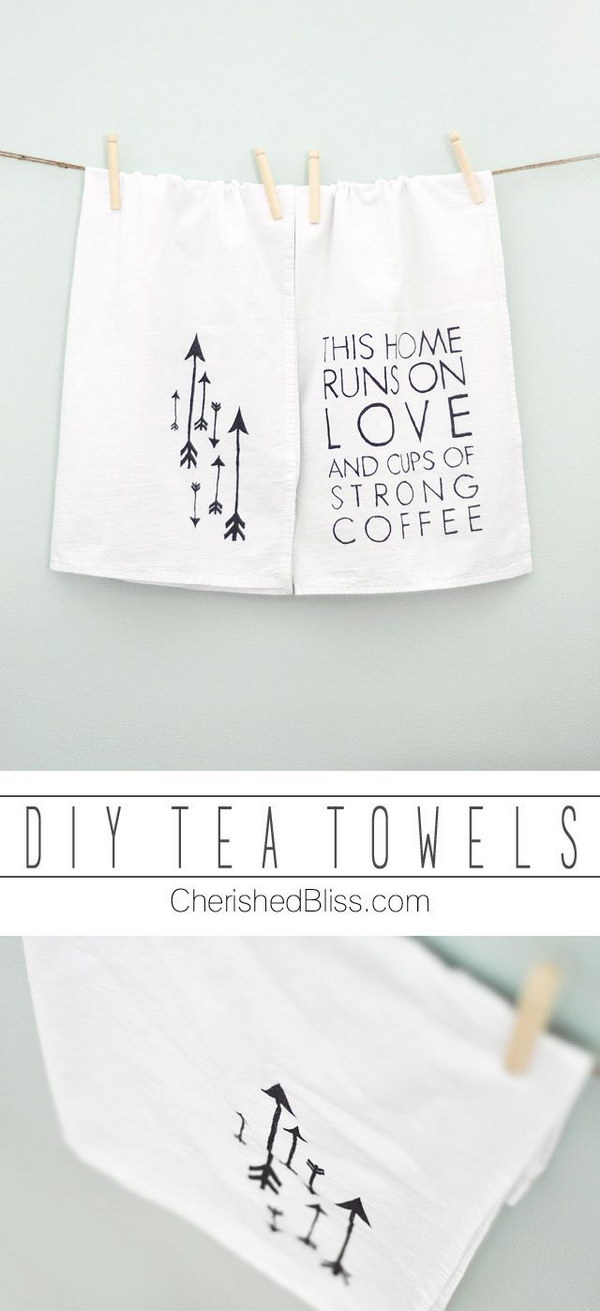 DIY Towels for Coffee Lovers. This makes a great gift for any coffee lovers!