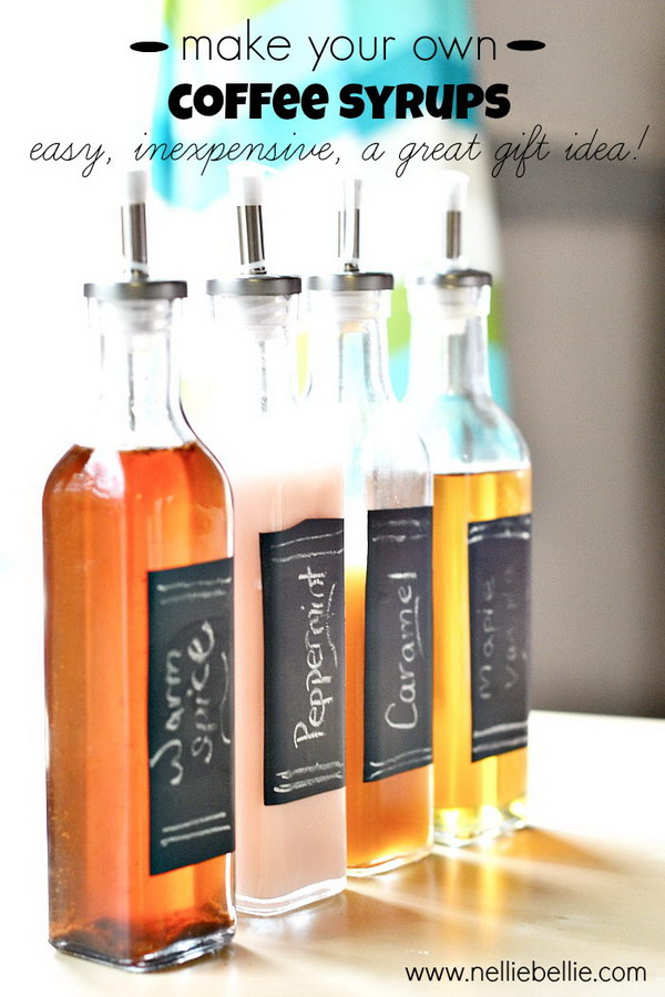Homemade Coffee Syrup. A set of delicious homemade coffee syrups, such as these from Nellie Bellie, would make a glorious gift for a coffee lover. They are also easy and inexpensive.