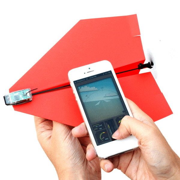 Paper Airplane Drone Kit. This item allows you to create custom aircraft remotely controlled by your smartphone. Perfect as a gift for the gadget fans in your life!