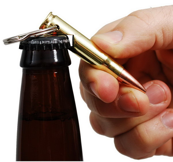 Bullet Bottle Opener Keychain. This cool keychain bottle opener was recycled with a bullet. It makes a perfect gift for your boyfriend if he is a gun lover!