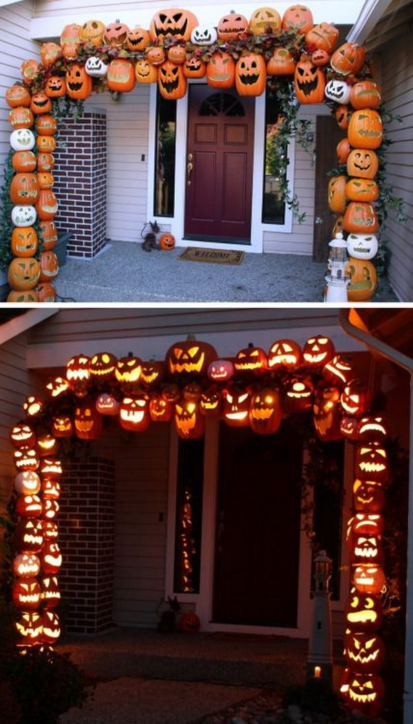 Awesome DIY fall jack o lantern arch made from PVC and foam pumpkins!