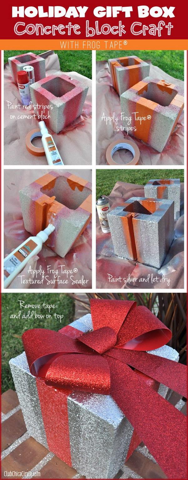 Holiday Gift Box Concrete Block