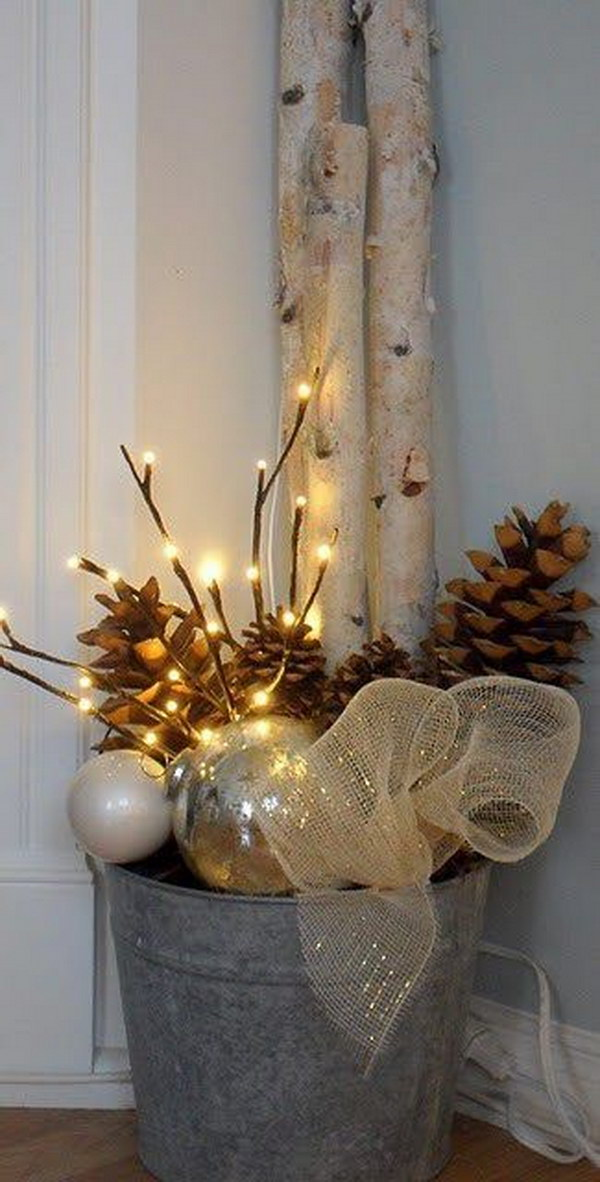 Bucket with Christmas Ornaments, Sticks, Burlap Ribbon and Pinecones