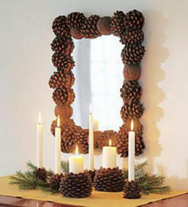 Pinecone Mirror and Candles
