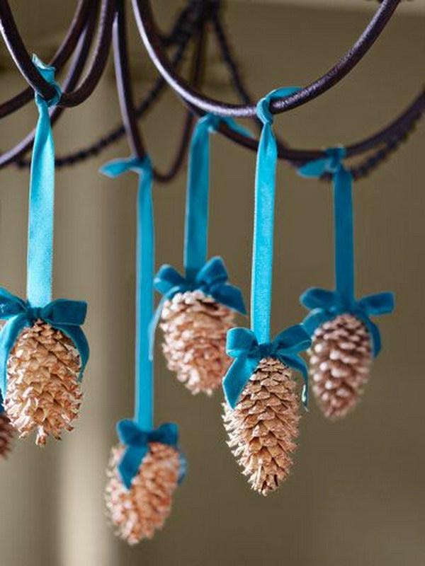 Use Ribbon to Make Pretty Pinecone Ornaments