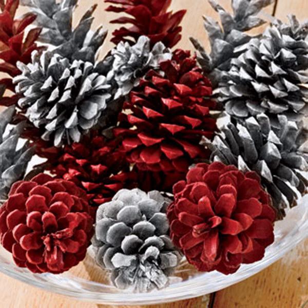 Festive Red Pinecones