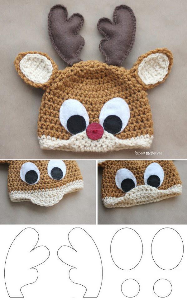 Reindeer Free Crochet Hat.