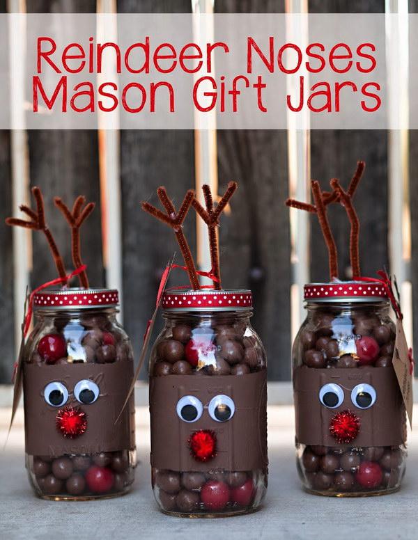 Reindeer Noses Mason Jar Gifts.