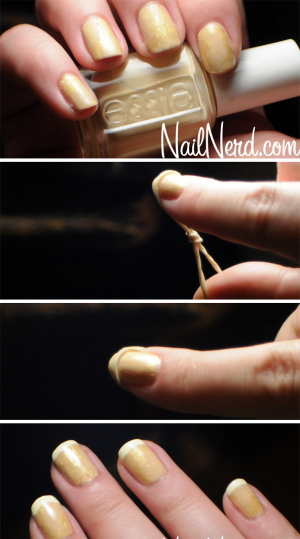 Rubber Band French Tip Manicure.
