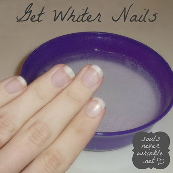 Whiten Your Nails after Removing a Dark Polish. Soak your nails in the mixture of hot water, hydrogen peroxide, and baking soda for about a minute.
