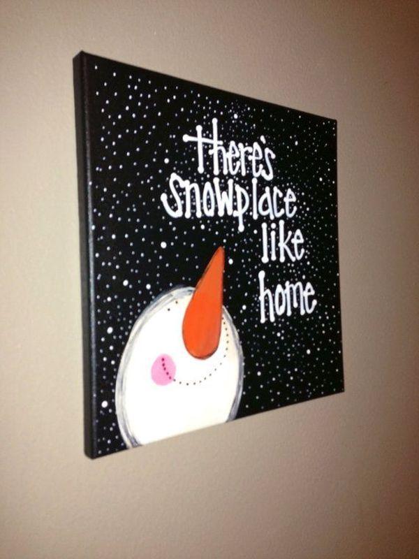 DIY Snowman and Snow Canvas