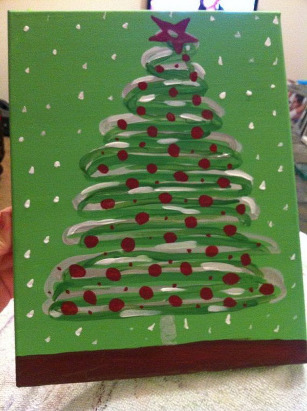 Christmas Tree Canvas with Red Sprinkles and Snow Polka  Dots