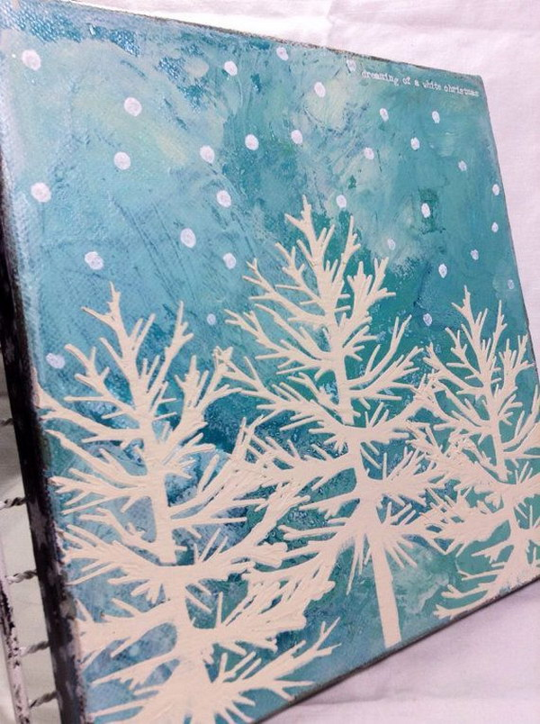White Blue Christmas Tree Canvas Painting with Snow Polka Dots