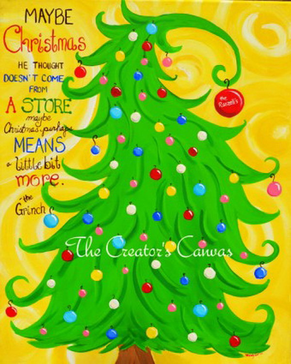 Christmas Grinch Hand Painted Canvas