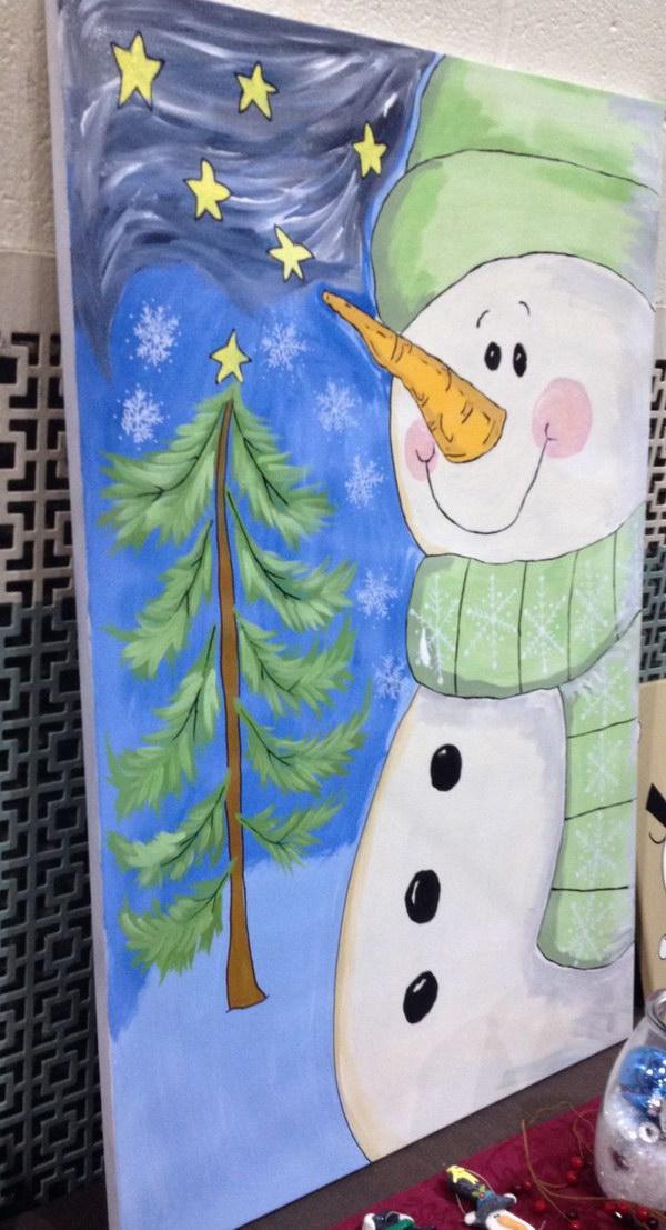 Cute Snowman Canvas Painting