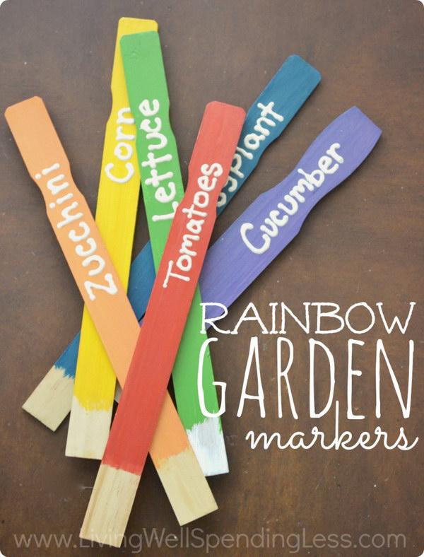 DIY Rainbow Garden Markers.