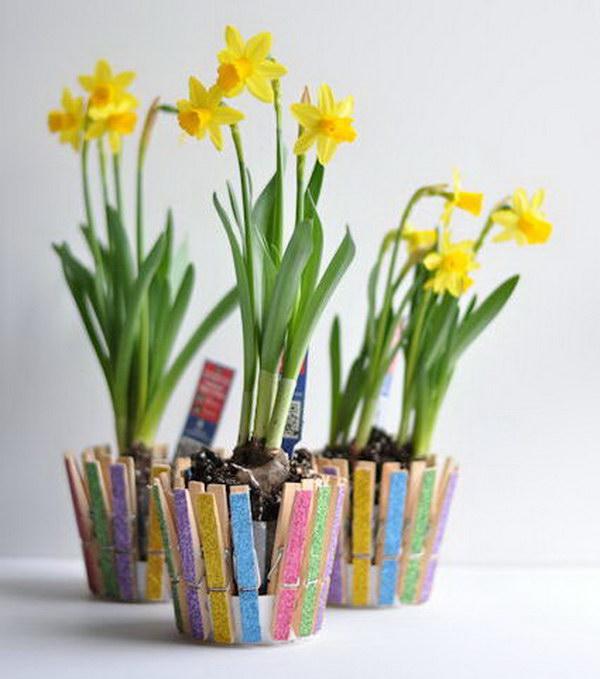 Clothespin Flower Pot.