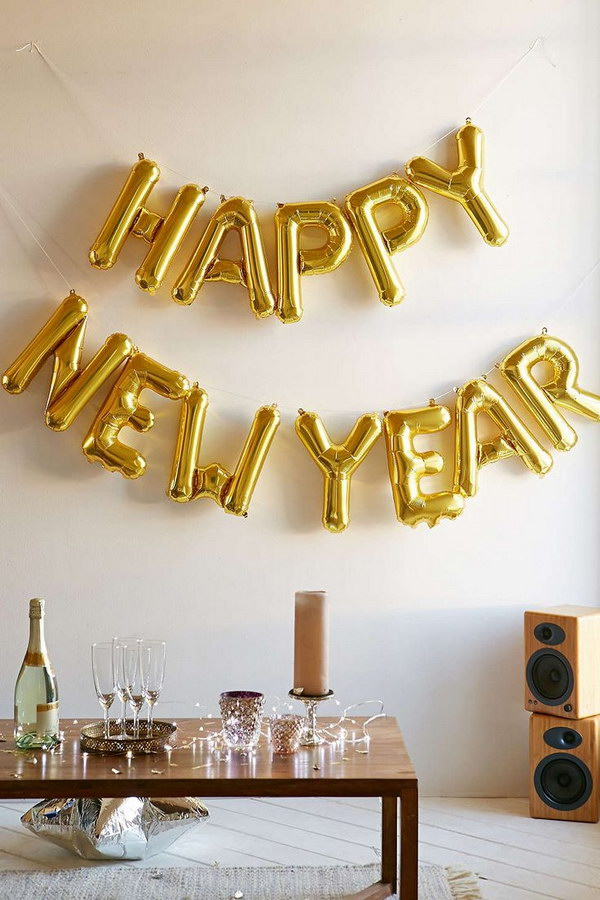 New Year Number Gold Balloon Kit