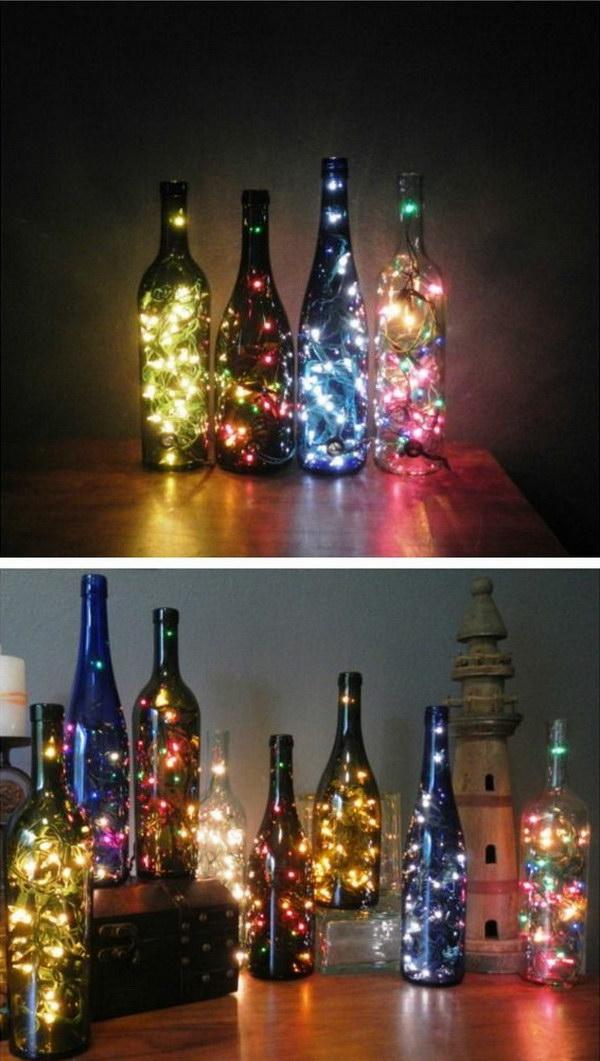DIY Wine Bottles with String Lights