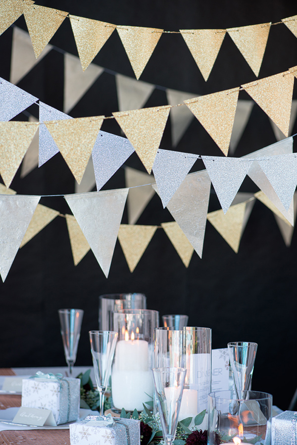 Silver and Gold NYE Paper Banner