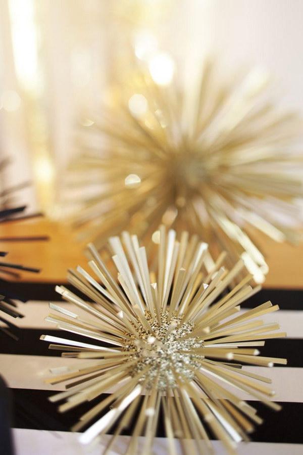 DIY Gold and Glitter Styrofoam Balls Toothpicks