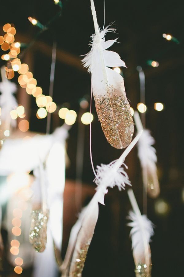 Gold Dipped Feathers Garland