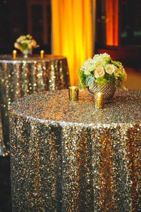 Gold Sequin Tablecloth NYE Decoration