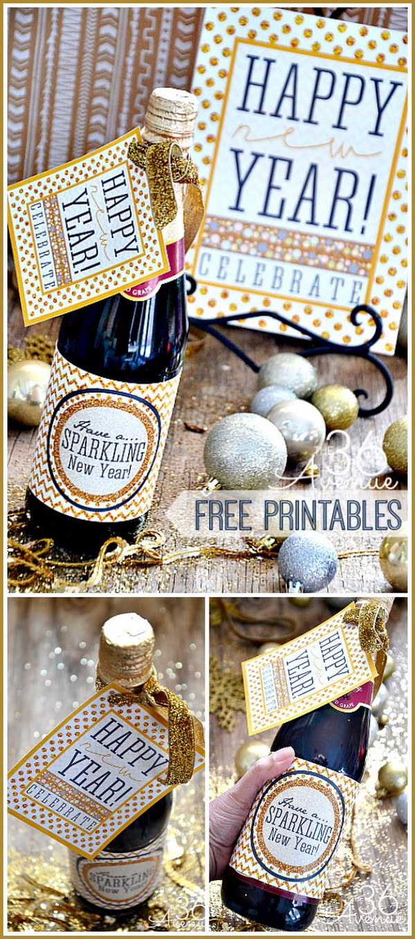 NYE Champagne Bottle Favors with Glittery Printables