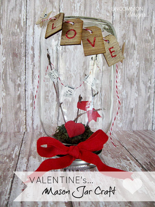 Mason Love Jar Valentine'S Day Setting