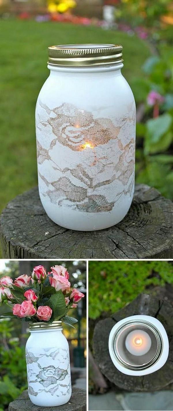 Lace Stenciled Mason Jar Flower Vase