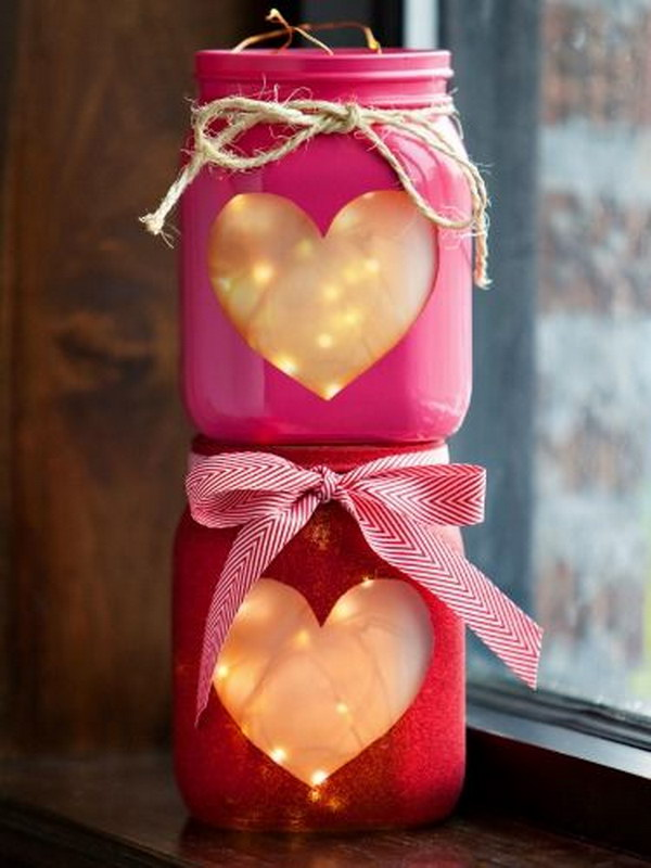 Beautiful  Heart Mason Jar  Lights