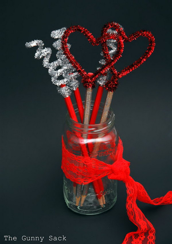 Valentines Day Pencil Toppers in a Mason Jar