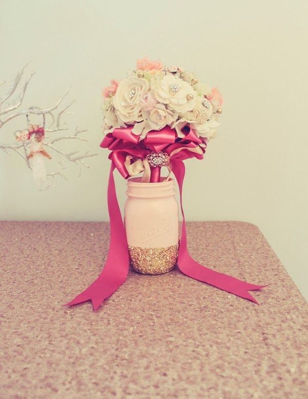 Pink Mason Jar Vases with Glitter Bottom and Brooch Bouquet