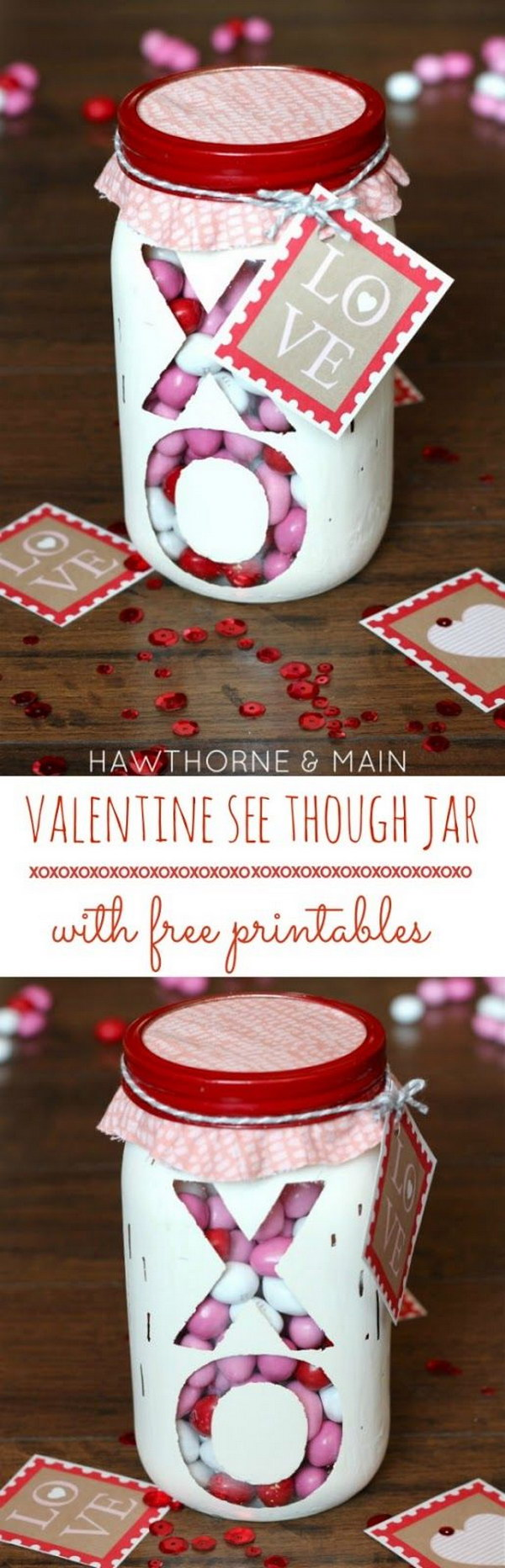 Valentine's Day See Through XO Jar with Free Printable