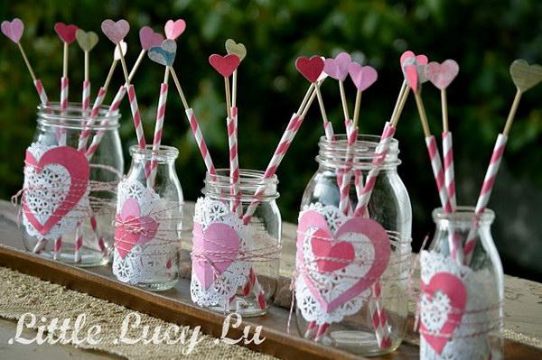 Valentine Mason Jar Centerpiece