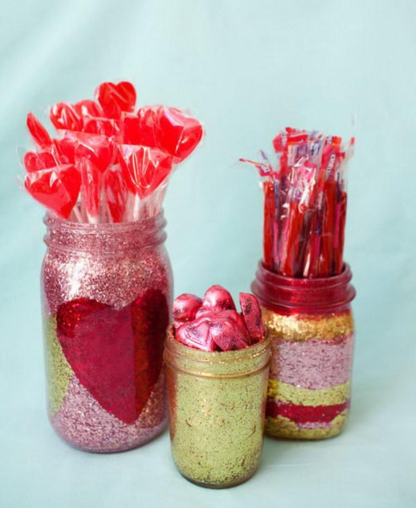Glitter Heart and Stripes Mason Jar