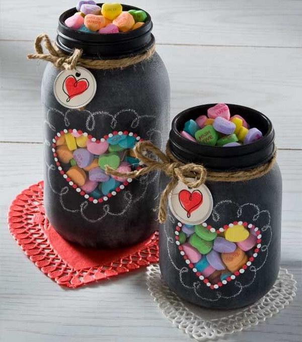 Valentine's Gift in Chalkboard Spray Paint Mason Jar