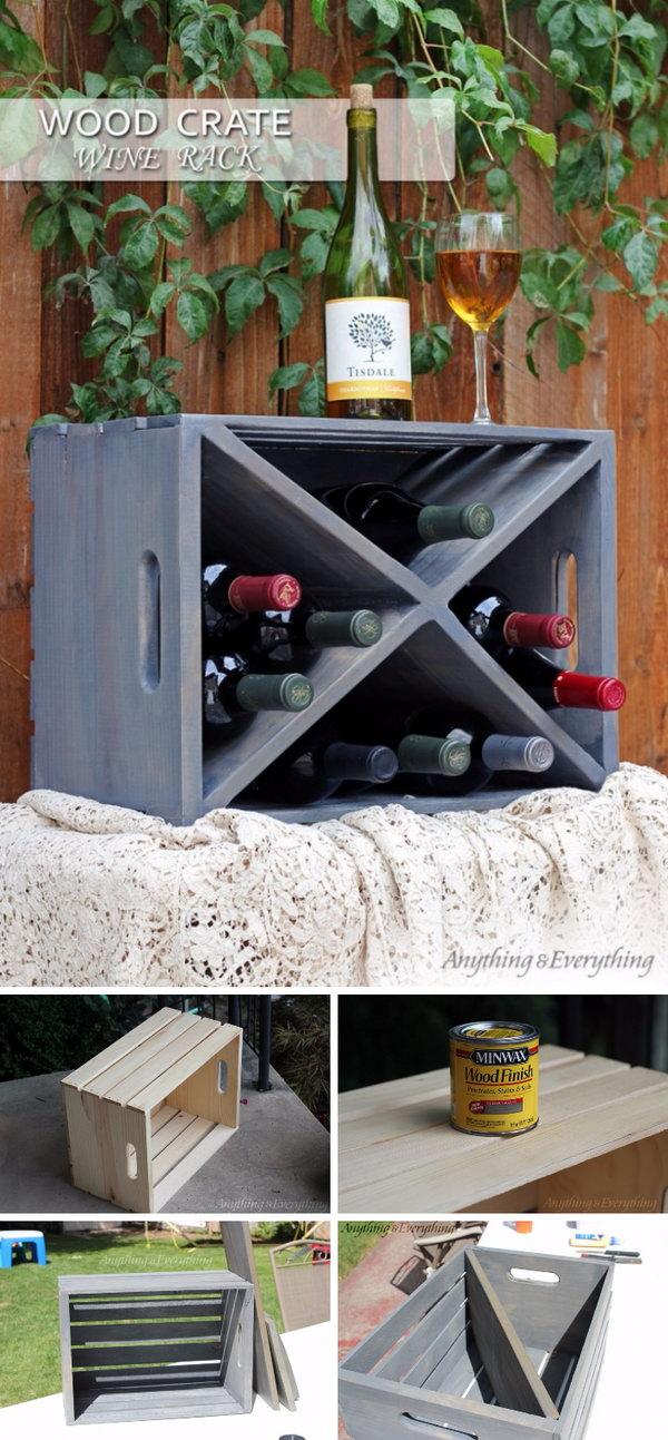 DIY Wood Crate Wine Rack Tutorial
