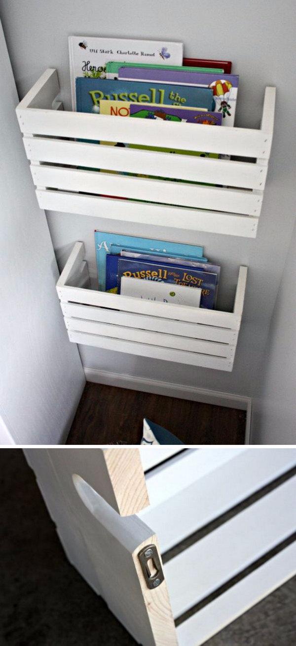 DIY Crate Book Shelves