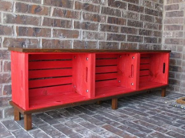 DIY Crate Bench for Front Porch