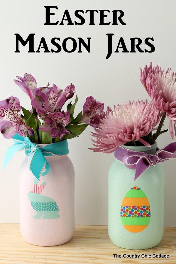 Easter Mason Jars with Washi Tape.