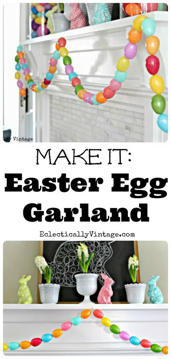 Spring Mantel and DIY Egg Garland.